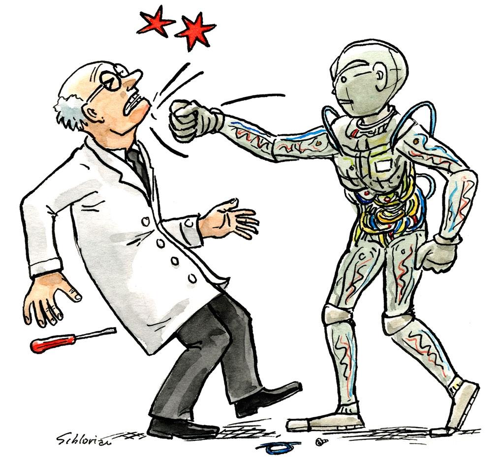Wissenschaftler und Roboter