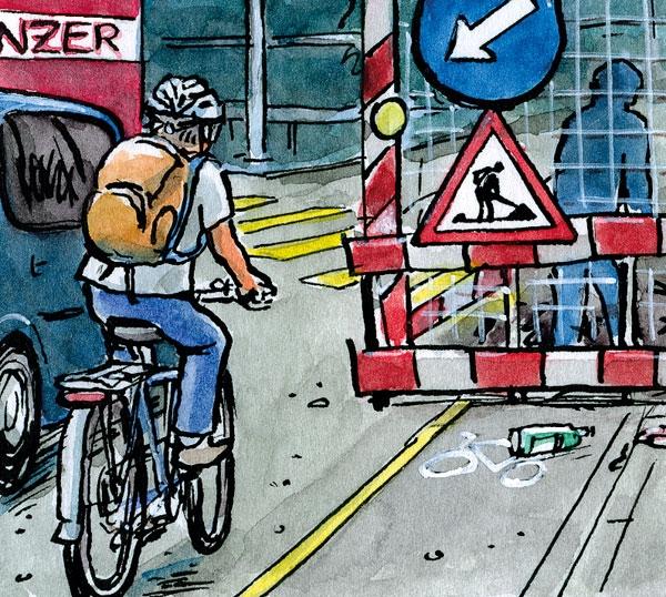 Fahrrad und Baustelle