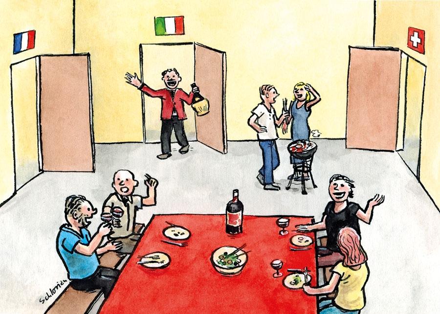 Europa zusammen am Tisch