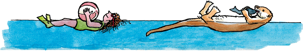 Mensch – Fischotter Rückenschwumm