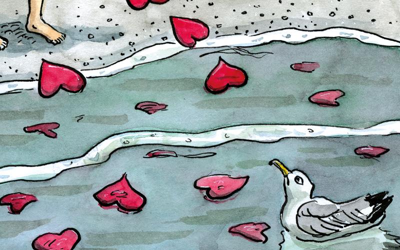 Herzen im Wasser