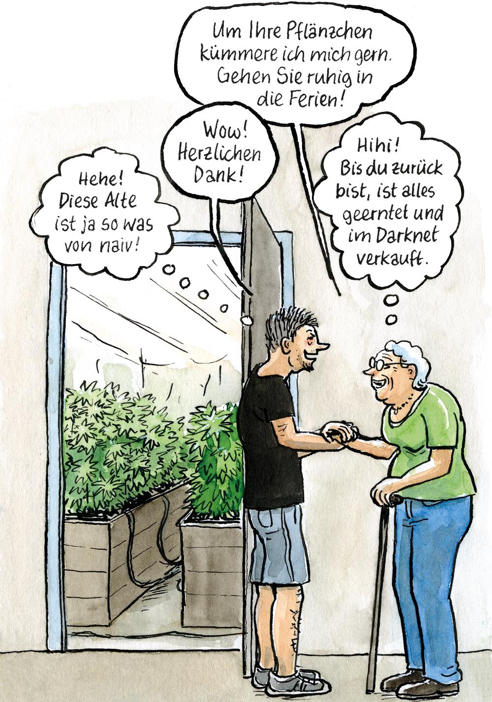 Die Nachbarin soll für die Hanfplantage schauen