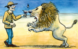Prosit! Mit einem Löwen anstossen.