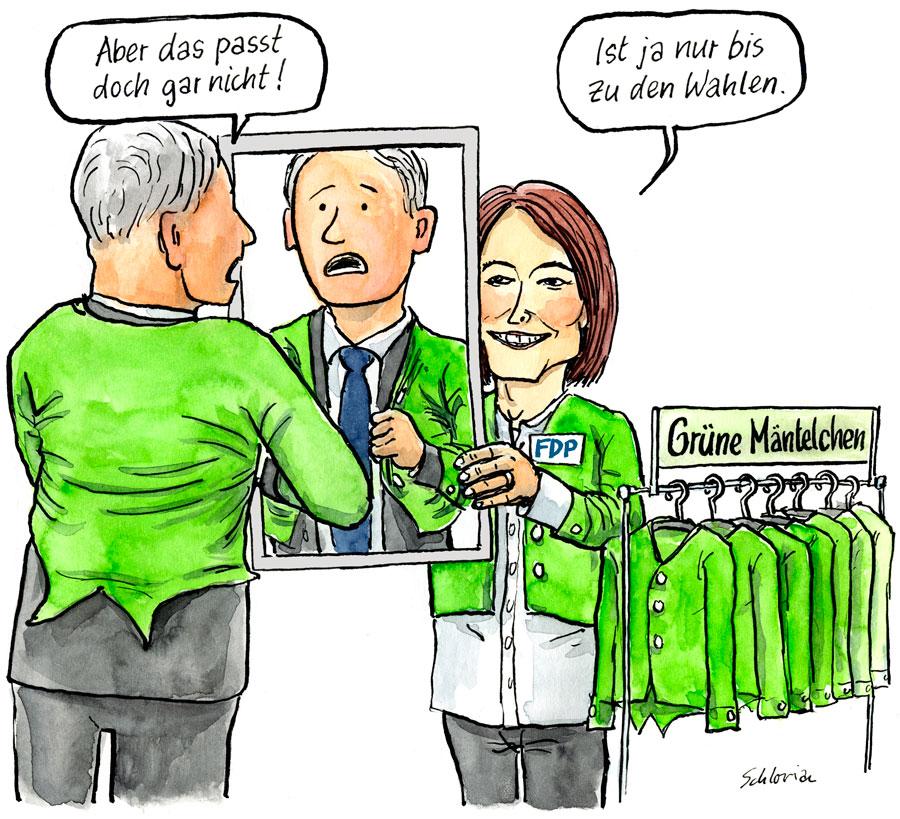 Petra Gössi verteilt grüne Mäntelchen.