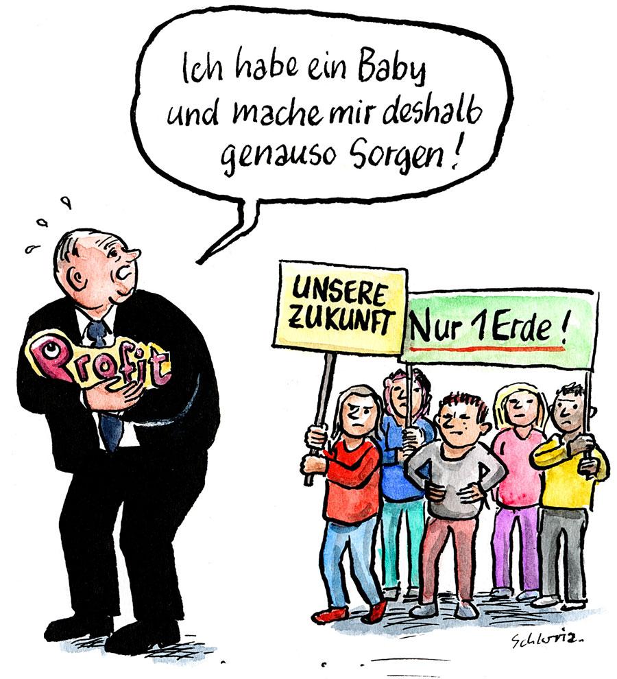 Cartoon: Ich habe ein Baby und mache mir deshalb genauso Sorgen