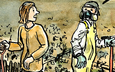 Glyphosat? fragt Frau auf Spaziergang