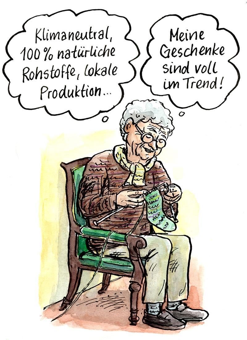 Cartoon mit strickender alter Frau