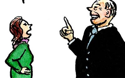 Cartoon, Frau und Wirtschaftsboss