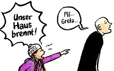 Cartoon Greta: Unser Haus brennt!