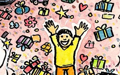 Cartoon Kind und Geschenke