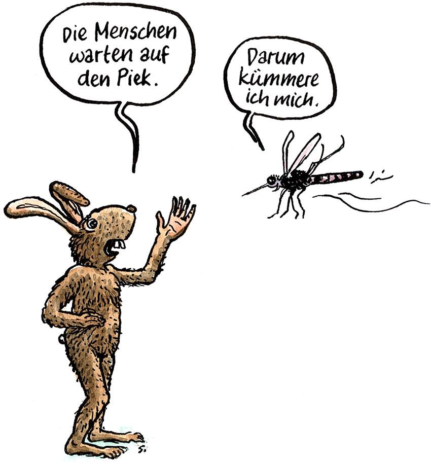 Cartoon: Die Menschen warten auf den Piek. – Darum kümmere ich mich!