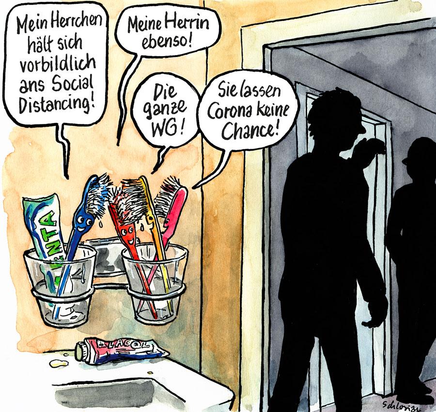 Cartoon Wohngemeinschaft und Corona