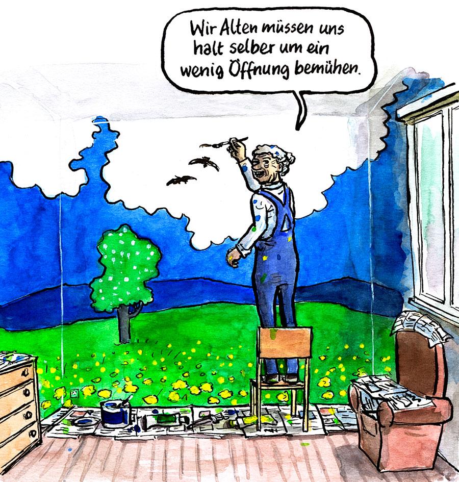 Cartoon: Wir Alten müssen uns halt selber um ein wenig Öffnung bemühen.