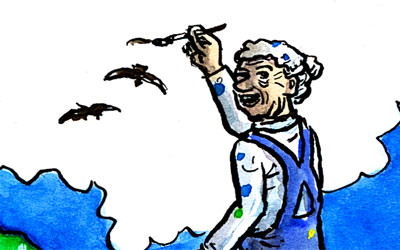 Cartoon: Alte malt Vögel