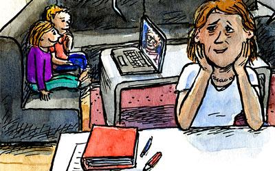 Cartoon Kinder und Homeoffice