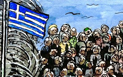 Cartoon Flüchtlinge, Griechenland