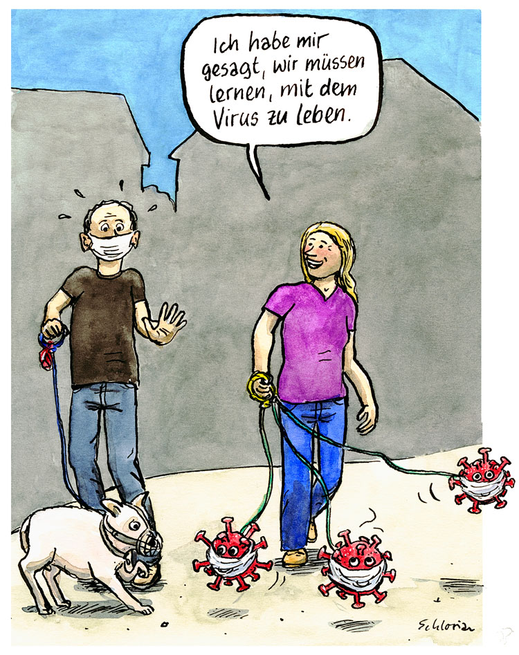 Cartoon Corona an der Leine