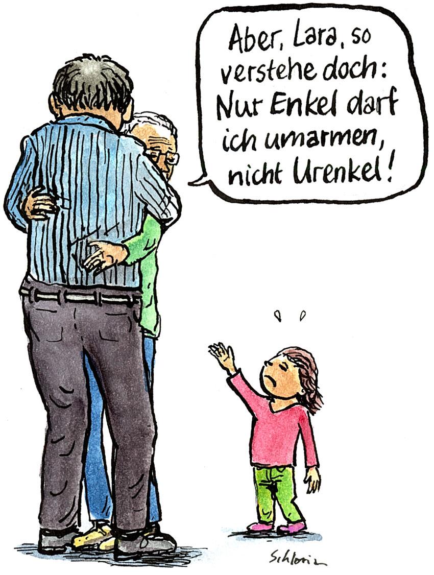 Cartoon: Nur Enkel darf ich umarmen!