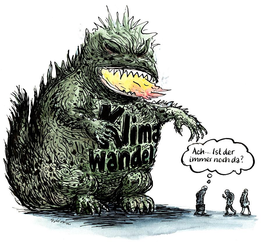 Cartoon: Klimawandeldrache wird ignoriert