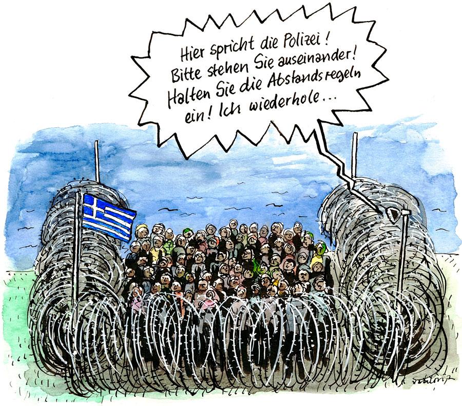 Cartoon Flüchtlinge hinter Stacheldraht