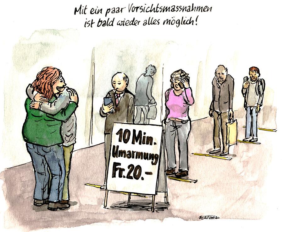 Cartoon: Anstehen für eine Umarmung.