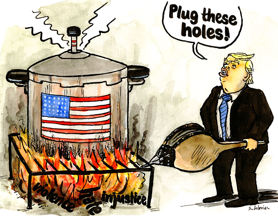 Cartoon Donald Trump: Plug these holes!