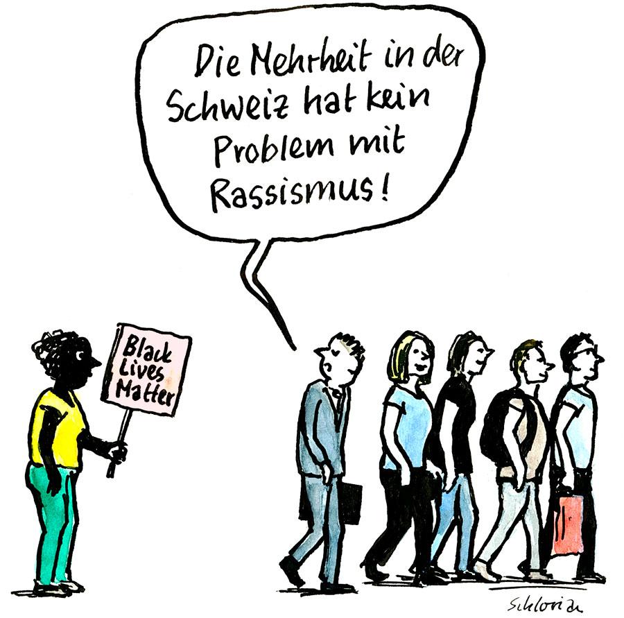Cartoon: Mehrheit und Rassismus