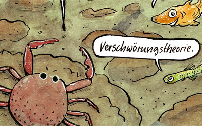Cartoon Verschwörungstheorie unterwasser