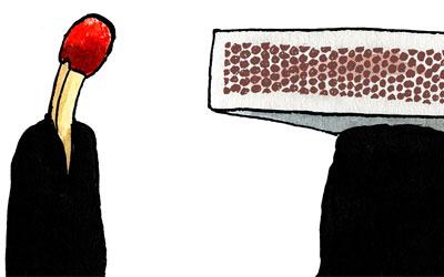 Cartoon Zündholz und Reibfläche