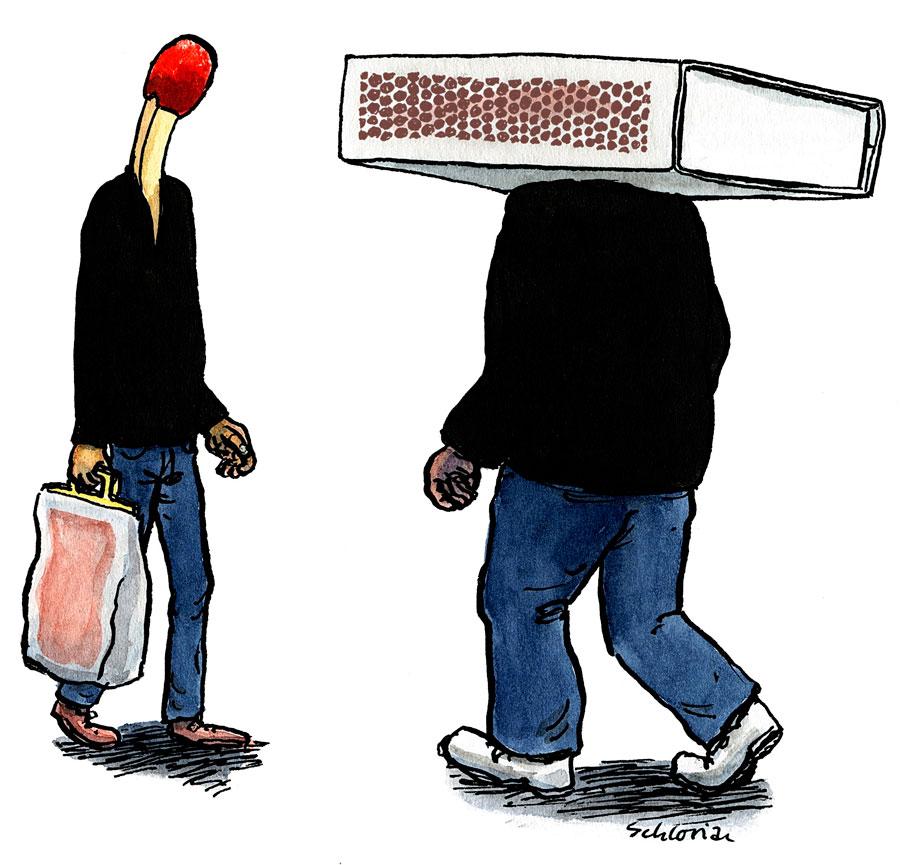 Cartoon Begegnung mit Sprengkraft
