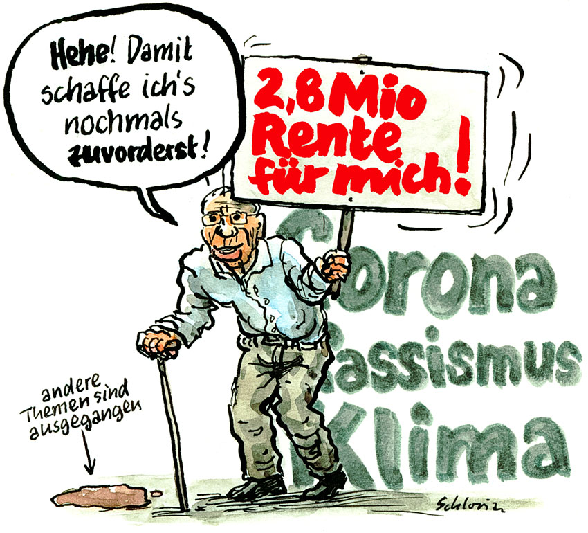 Cartoon Christoph Blocher nochmals zuvorderst!