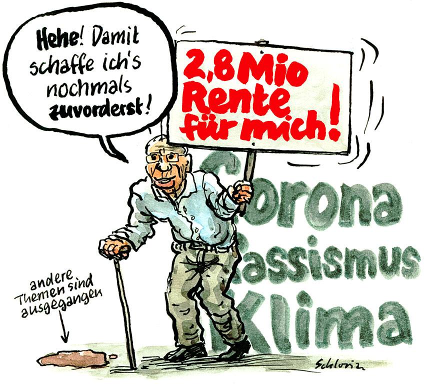Cartoon Christoph Blocher nochmals zuvorderst!