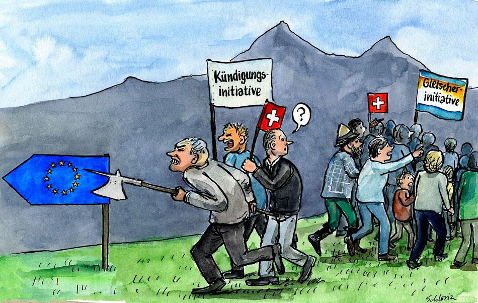 Cartoon Kündigungsinitiative vs. Gletscherinitiative