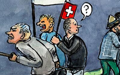 Cartoon: die Probleme der Schweiz