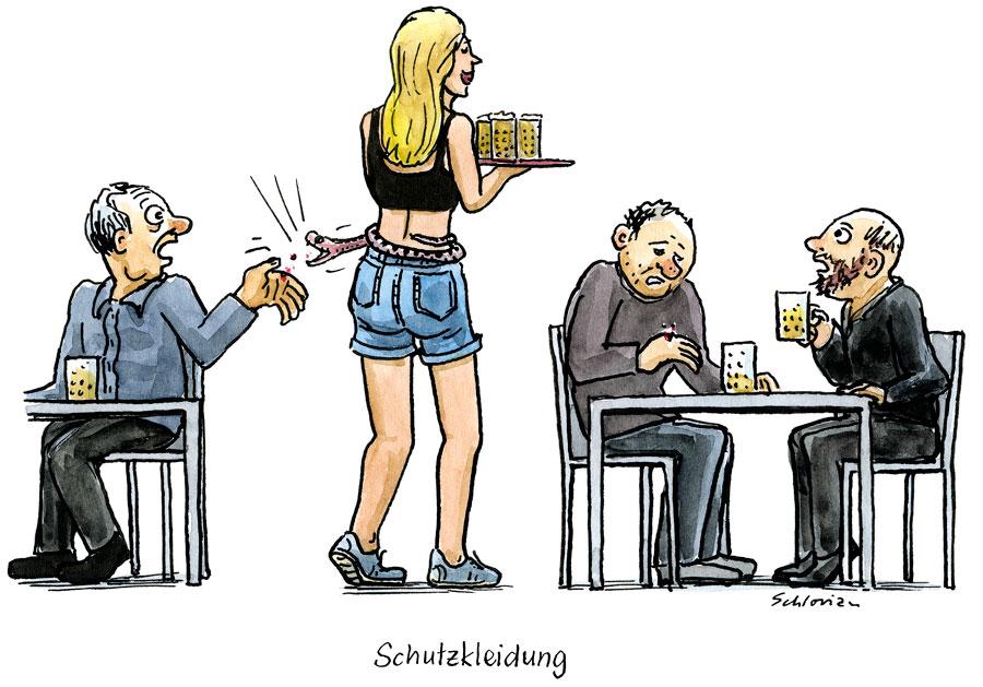 Cartoon: Schutzkleidung im Service