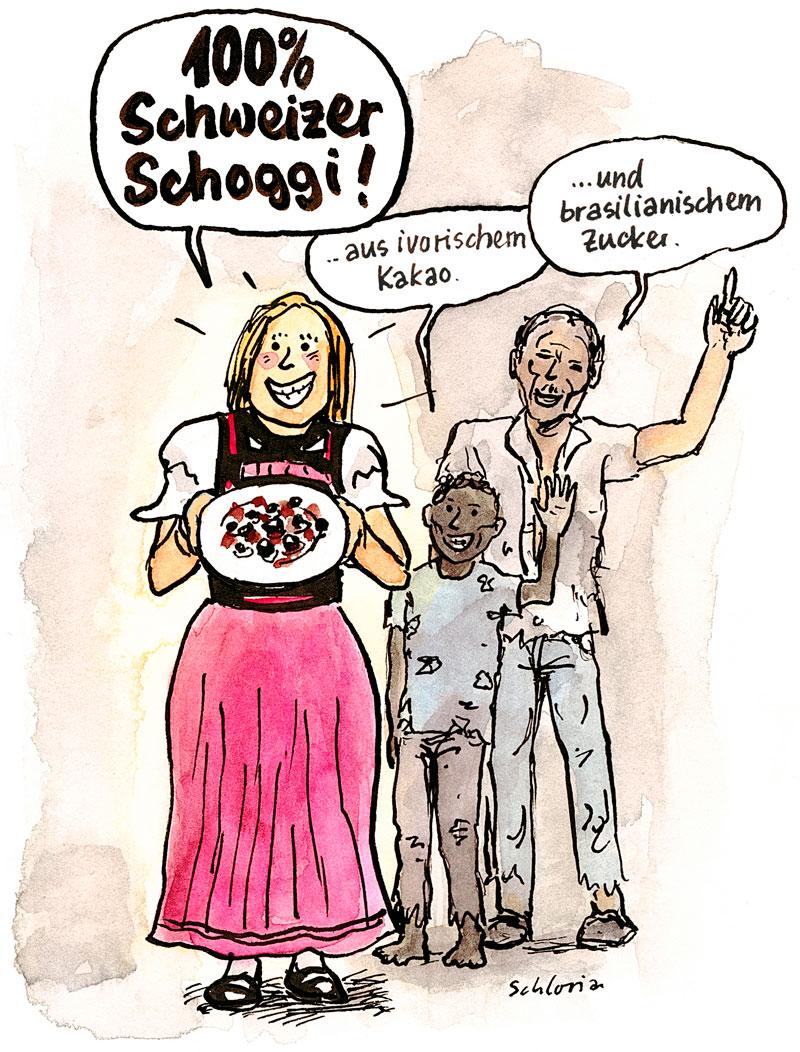 Cartoon Schweizer Schokolade