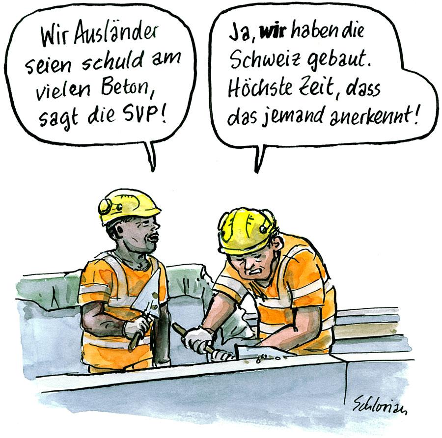 Cartoon Schuld am vielen Beton