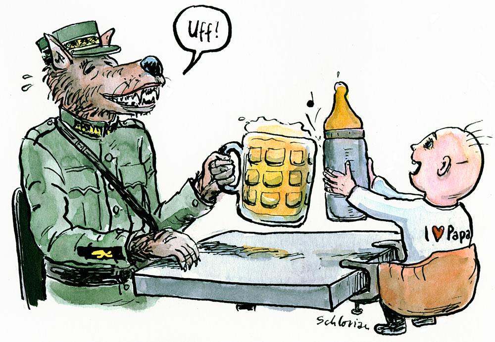 Cartoon: Wolfmilitär prostet Kleinkind zu