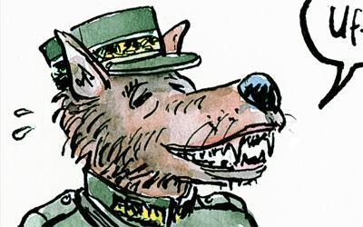 Cartoon erleichterter Militär-Wolf