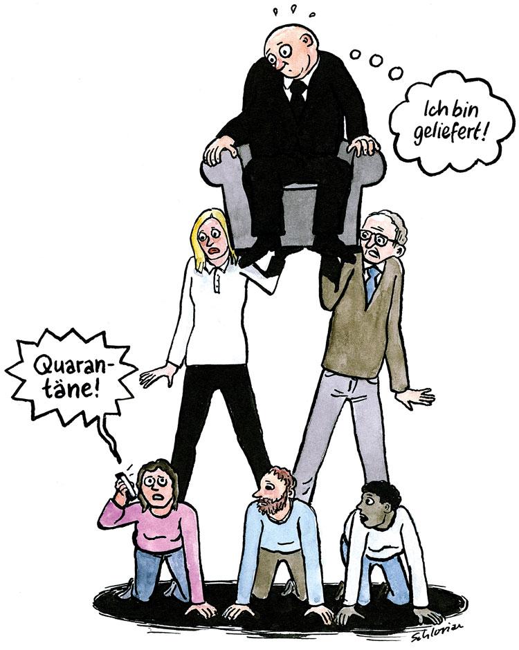 Cartoon Quarantäne bei Menschenpyramide