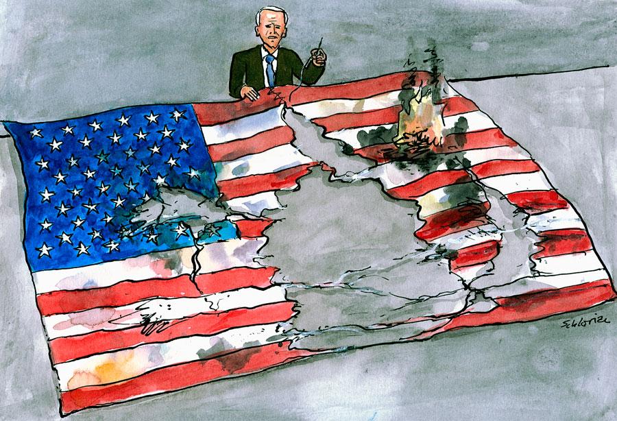 Cartoon: Biden näht US-Flagge