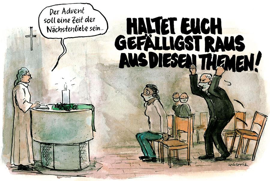 Cartoon: Kirche soll sich aus Politik raushalten