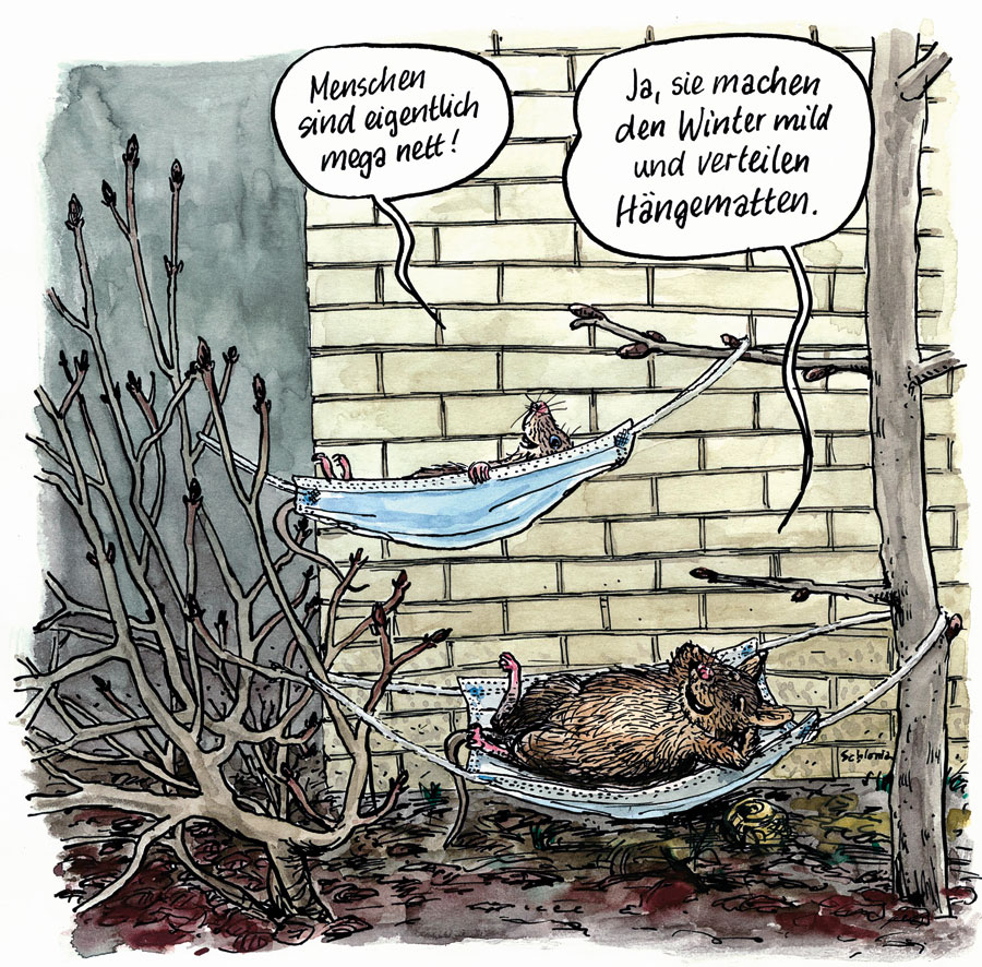Cartoon Mäuse in Hängematte