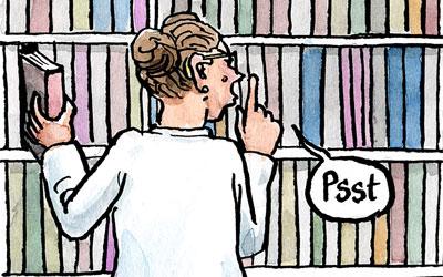 In Bibliothek: Ruhe Bitte!