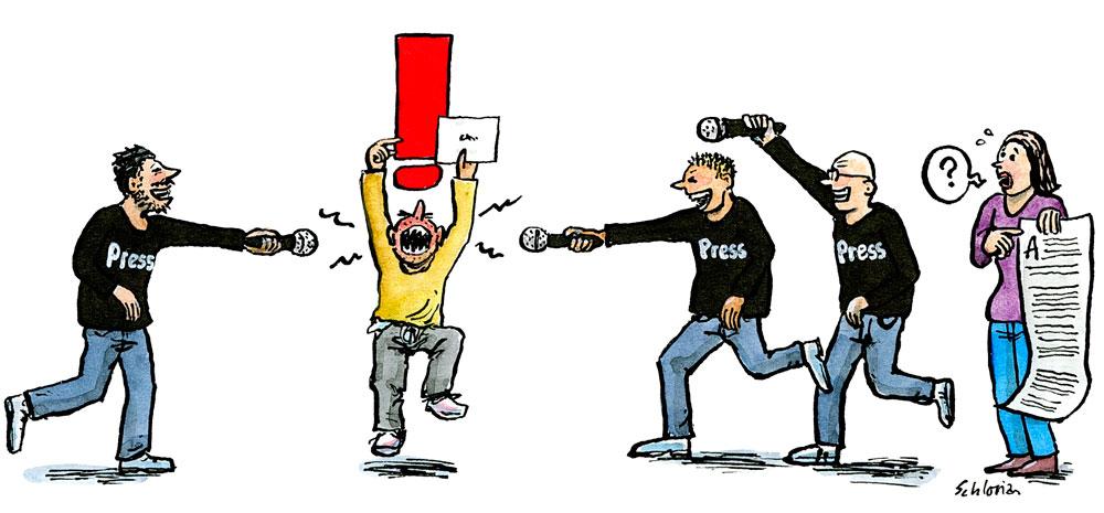 Cartoon Wutbürger und Presse