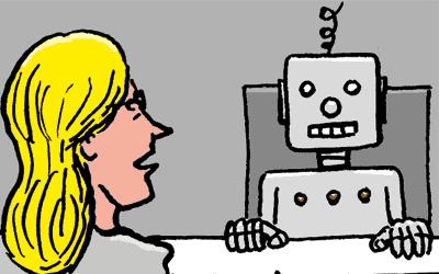 Cartoon Gespräch mit Roboter