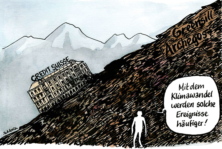 Cartoon Credit Suisse im Murgang