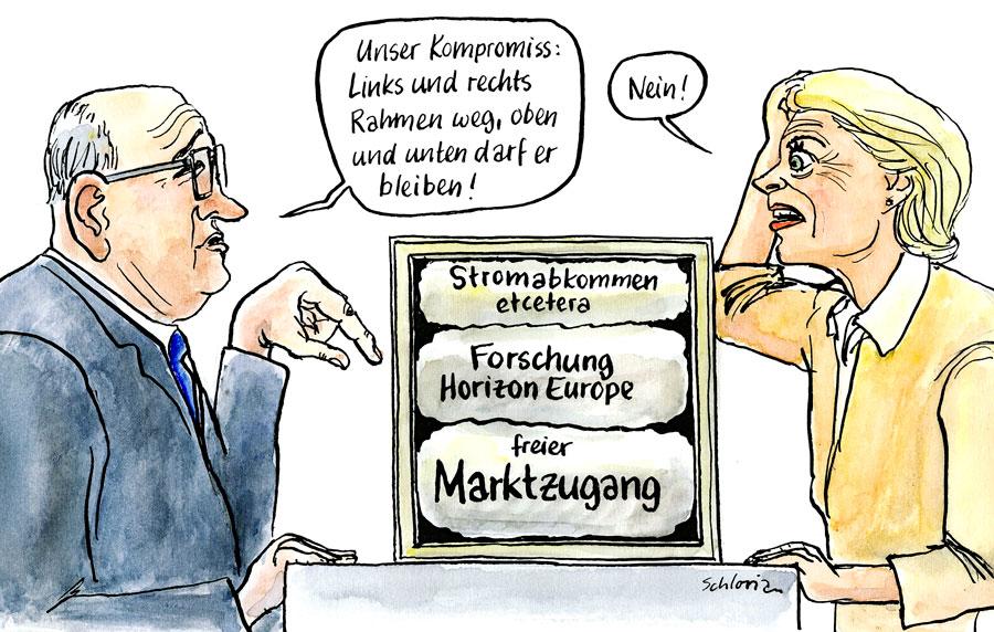 Cartoon Rahmenvertrag Schweiz-EU