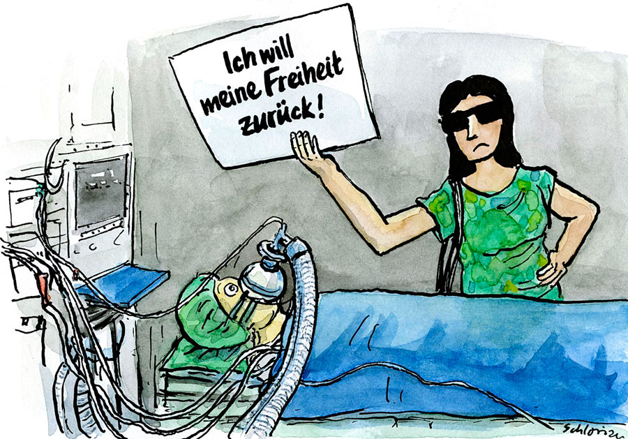 Cartoon: Coronaprotest am Krankenbett
