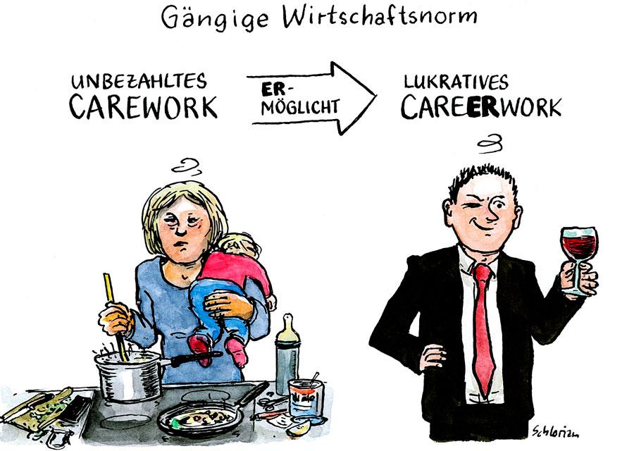 Cartoon Carework und Karriere